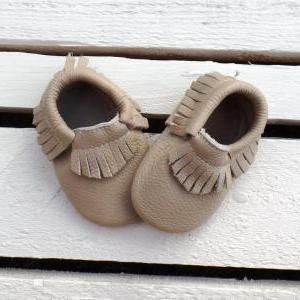 Genuine Leather Baby Moccasins Beig..