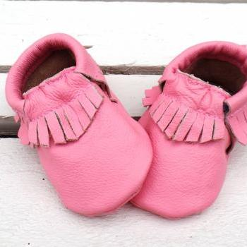 Genuine Leather Baby Moccasins Pink 6 To 12 Month