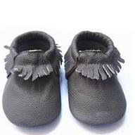 Genuine Leather Baby Moccasins Slate Grey 0 To 6 Month